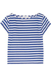 Milly Striped Cotton Blend T Shirt Royal Blue