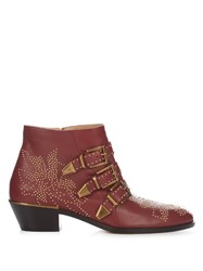 Chloe Susanna Leather Ankle Boots Dark Red