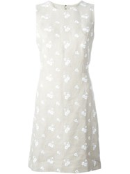 Michael Michael Kors Flower Embroidered Dress Nude And Neutrals
