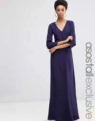 Asos Tall Maxi Dress With Button Front Navy