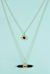 Boohoo Layered Crystal Pendant Necklace Gold