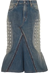 Junya Watanabe Studded Denim Midi Skirt Blue