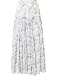 Saint Laurent Floral Maxi Skirt White