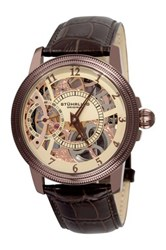 Stuhrling Men's Winchester Bridge Leather Strap Mechanical Watch Metallic