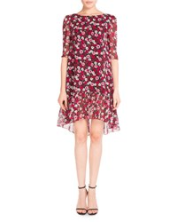 Saint Laurent Half Sleeve Poppy Print Flutter Dress Red