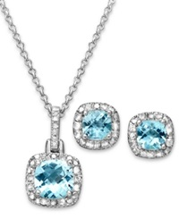 Victoria Townsend Sterling Silver Earrings And Necklace Set Blue Topaz 3 1 10 Ct. T.W. And Diamond Accent
