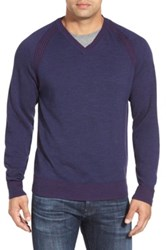 Robert Graham 'Regan' Wool V Neck Sweater Blue