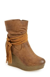 Sbicca Women's 'Tavie' Wedge Bootie Tan Faux Leather