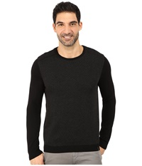 Calvin Klein Cotton Modal Plaited Rib Shoulder And Jacquard Crew Sweater Black Men's Sweater