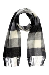 Amicale Merino Wool Plaid Scarf Gray