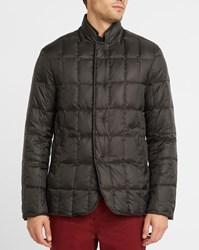Armani Collezioni Black Corduroy Lined Zipped Collar Quilted Down Jacket