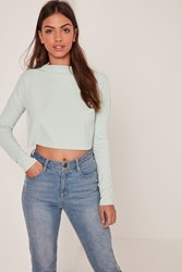 Missguided Crepe High Neck Jean Grazer Top Green Mint
