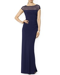 Lauren Ralph Lauren Gown Boat Neck Jersey Lighthouse Navy