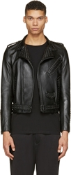 Johnlawrencesullivan Black Matte Studded Biker Jacket