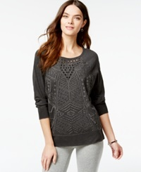 Lucky Lotus By Lucky Brand Embroidered Cutout Detail Sweatshirt Lucky Black