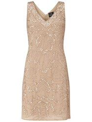 Adrianna Papell Sleeveless Beaded Godet Cocktail Dress Champagne
