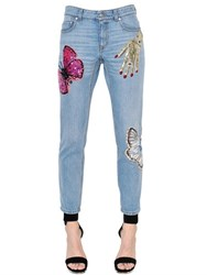 Alexander Mcqueen Surreal Embellished Cotton Denim Jeans