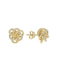 Lagos 18K Yellow Gold Love Knot Stud Earrings With Diamonds White Gold