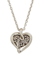 Lois Hill Sterling Silver Small Granulated Heart Pendant Necklace Metallic