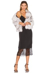 Adrienne Landau Fox Fur Jacket Gray