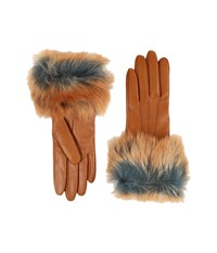 Ugg Three Point Long Toscana Trim Leather Smart Gloves Chestnut Multi Extreme Cold Weather Gloves Tan