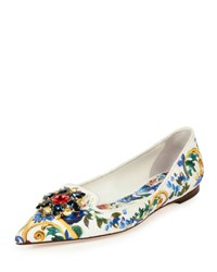 Dolce And Gabbana Jewel Embellished Printed Canvas Skimmer Multi