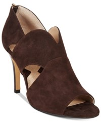 Adrienne Vittadini Gerlinda Peep Toe Sandals Women's Shoes Dark Chocolate Kidsuede