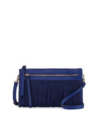 Neiman Marcus Faux Leather Crossbody Bag With Suede Fringe Cobalt