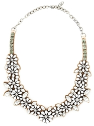 Valentino Garavani Flower Bib Necklace White