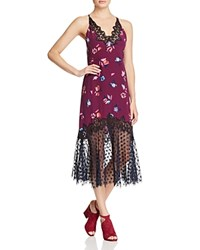 Rebecca Taylor Lace Trim Floral Print Midi Dress Plum Combo