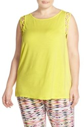 Pink Lotus 'Tied Off' Muscle Tee Plus Size Yellow