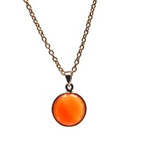Puck Wanderlust Gold July Birthday Charm Necklace Carnelian Gold Yellow Orange