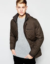 New Look Hooded Quilted Jacket In Khaki