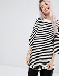 Monki Oversized Striped Jumper Off White