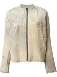 By Walid Floral Embroidered Bomber Jacket Green