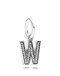 Pandora Design Pandora Pendant Sterling Silver And Cubic Zirconia Letter W Moments Collection Silver Clear