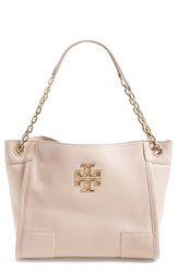 Tory Burch 'Small Britten' Leather Slouchy Tote Beige