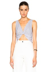 Thakoon Twisted Front Crop Top In Gray Checkered And Plaid