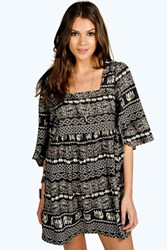 Boohoo Elephant Print Batwing Smock Dress Multi