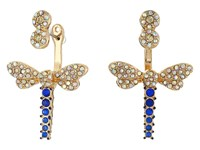 Betsey Johnson Spring Ahead Dragonfly Front Back Earrings Blue Green Earring