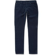 Boglioli Slim Fit Stretch Cotton Corduroy Trousers Navy