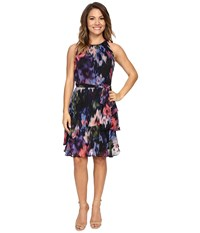 Tahari By Arthur S. Levine Petite Chiffon Floral Dress Black Peri Raspberry Women's Dress