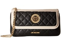 Love Moschino Long Classic Quilted Crossbody Bag Black White Cross Body Handbags