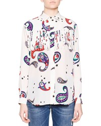 Msgm Long Sleeve Paisley Print Fringe Top White