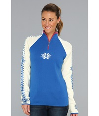 Dale Of Norway Geilo Feminine H Cobalt Off White Allium Women's Long Sleeve Pullover Blue
