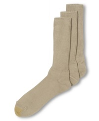Gold Toe Adc Acrylic Fluffies 3 Pack Crew Casual Men's Socks Khaki