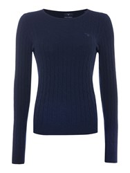 Gant Stretch Wool Cable Crew Neck Jumper Blue