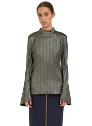 Ellery Atlantic Flute Sleeved Metallic Top Green