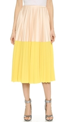 Cedric Charlier Pleated Skirt Yellow Nude