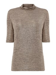 Biba Short Sleeve Metallic Turtle Neck Gold
